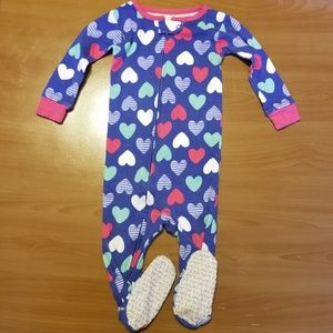 Carter's Giant Hearts Zip Up Footed Pajamas 18m